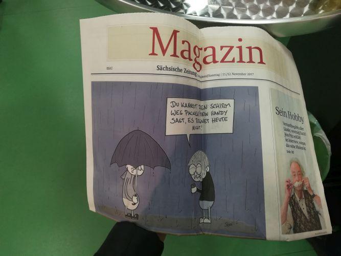 Steffens Cartoon auf dem Cover des Magazin-Teils der Sächsischen Zeitung beim Bericht zum Karikaturenpreis 2017